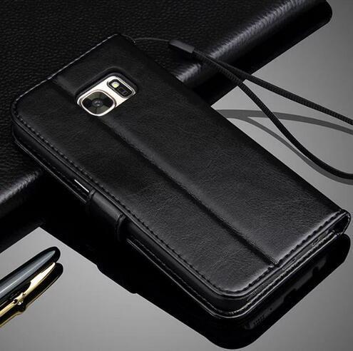 Caso di carta di cuoio del raccoglitore del cuoio del portafoglio di vibrazione dell'annata di prezzi bassi all'ingrosso per Samsung Galaxy S7 Edge