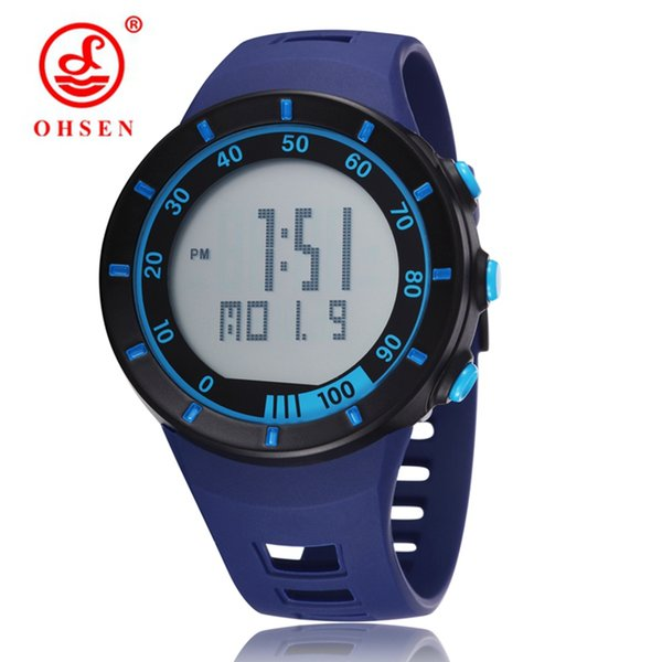 Top Brand OHSEN LED Digital Sport Watches For Mens 50M Waterproof rubber band blue Fashion Casual Wristwatches Orologio Uomo Montre Homme