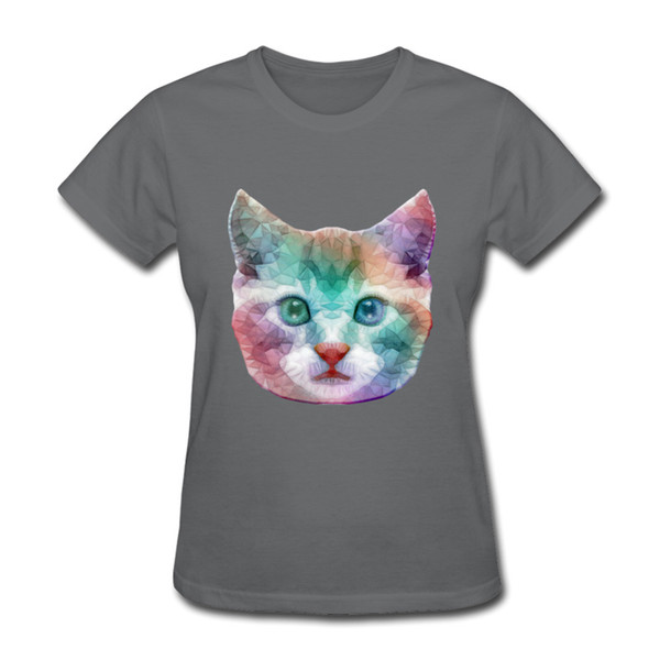 Group clothing customization Gradient cat print lady short sleeve t-shirt cosy fabric Cost effective clothes bright eyes