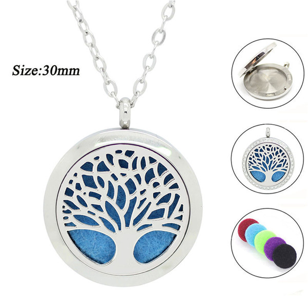 top popular With chain as gift! 316L stainless steel silver 20mm 25mm 30mm magnetic perfume locket neckalce aromatherapy diffuser locket necklace 2019