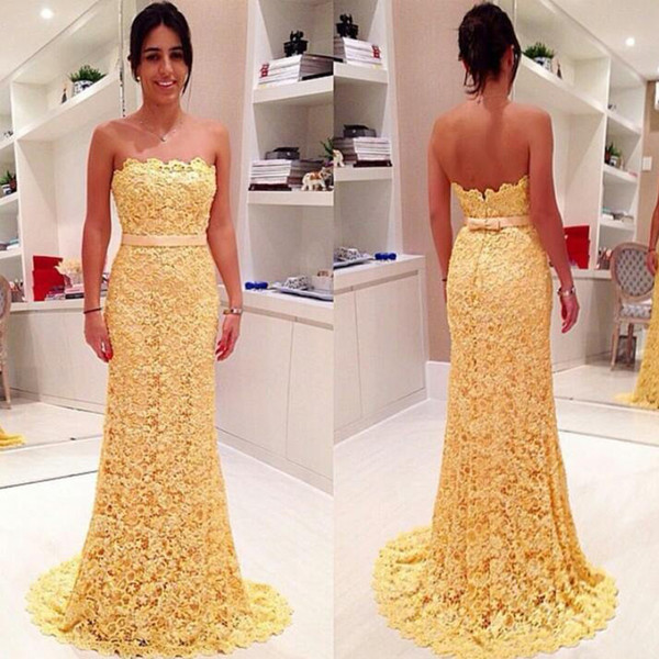 Vintage Prom Dressess Light Yellow Lace Mermaid Strapless Sleeveless Cheap  Prom Dresses Pageant Gowns Bow Sash Sweep Train Plus Size Formal Wear ...
