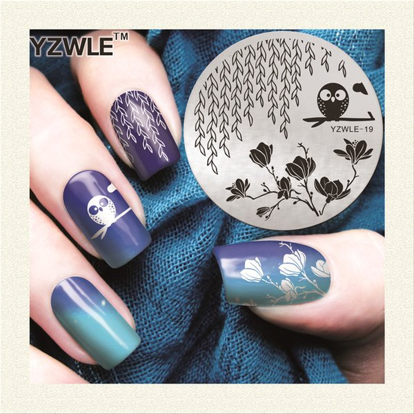 Wholesale- YZWLE 1 Sheet Stamping Nail Art Image Plate, 5.6cm Stainless Steel Template Polish Manicure Stencil Tools (YZWLE-19)
