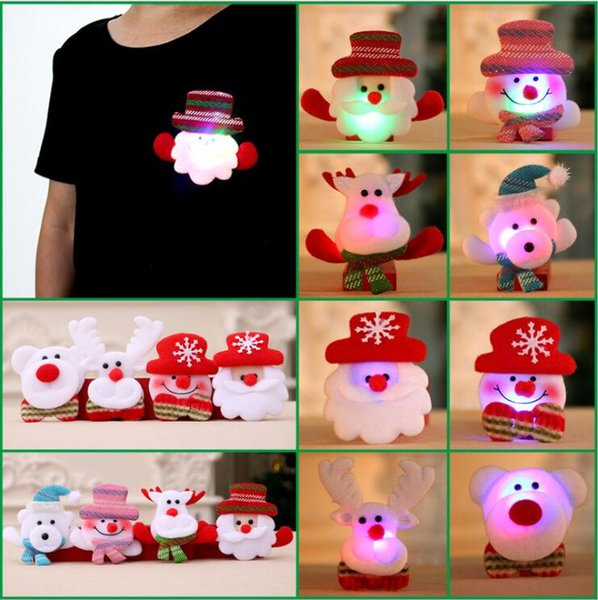 High Quality LED Christmas Brooches Snow man Santa Claus Elk Bear Pins Badge Light Up Brooch Christmas Gift Party decoration Kids Toy