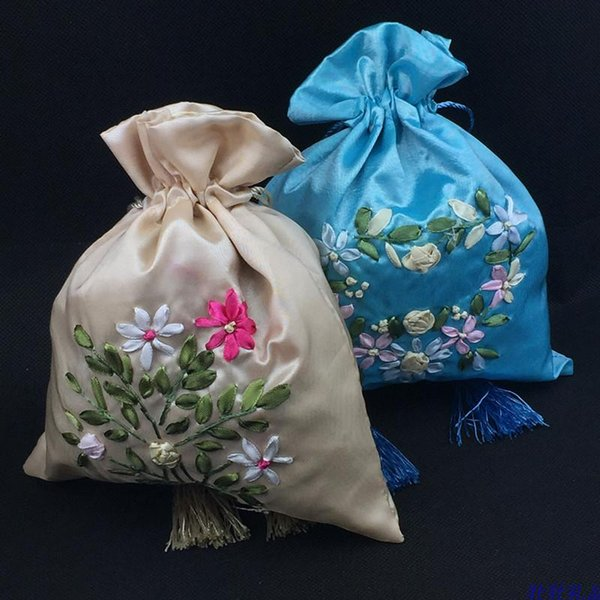 Hand Ribbon embroidery Large Gift Bag Drawstring Satin Cloth Packaging Jewelry perfume spices Storage Pouch Candy Tea lavender Favor Bags