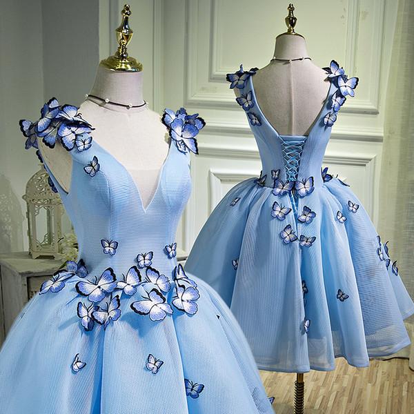 100% azul claro real butterflys alice / fairy fancy dress vestido de fiesta corto / vestido corto de lolita vestido de lolita / ballet / danza de escenario performance dress