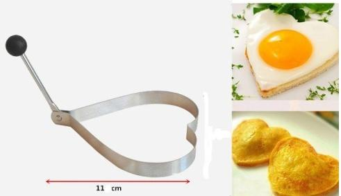 Creative Heart Shape Stainless Steel Poached Fried Egg Mold Shaper Pancake Mould Bento Decoration Kitchen Cooking Tool [ 1pc ]
