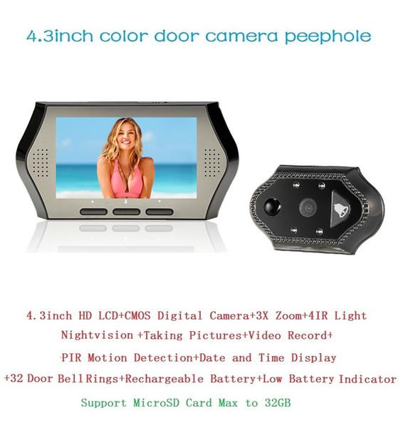 Italian Menu spioncino porta digitale 4.3inch LCD 0.3Megapixels door camera IR night vision PIR Motion Detection 32Rings 3X Zoom