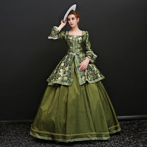 Yeni Varış 2017 Kare Yaka Uzun Parlama Kollu Alice Gotik Victorian Uzun Elbiseler Avrupa Rococo Barok maskeli Elbiseler Balo