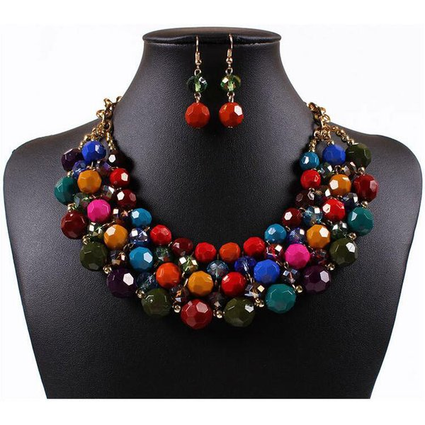 Bohemian Jewelry Sets New Hot Sale Earrings and Necklaces Set for Women Girl Party Gift Fashion Jewelry Wholesale Free Shipping 0413WH