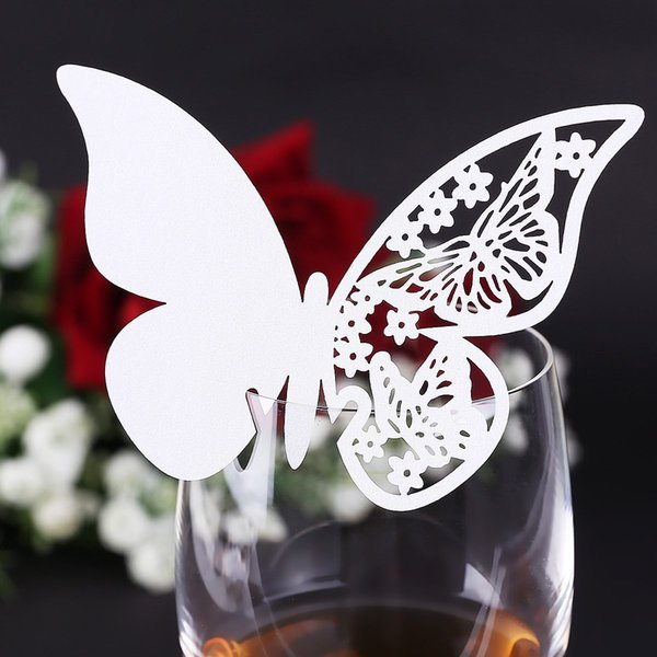 Wholesale-SZS Hot 20pcs Glass card holder names Brand-Places # 941 Butterfly white wedding baptism decoration