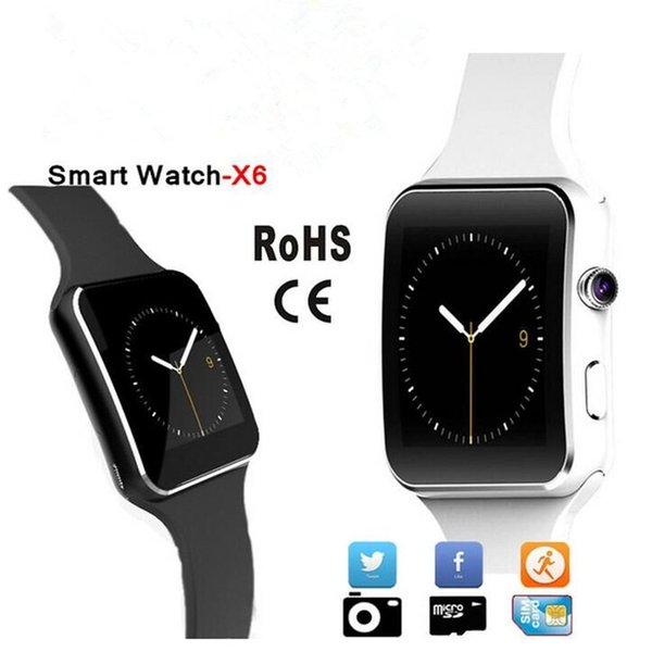 2017 Hot Sale hd Bluetooth Smart Watch X6 Smartwatch the Smartwatches For Android Phone With Camera Support SIM Card Wholesale 1pc/lot