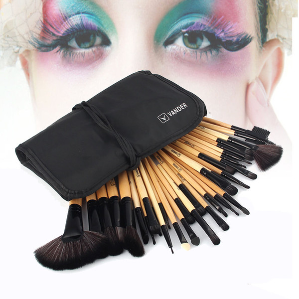 Professional Makeup Brushes Set 32Pcs Cosmetics Beauty Foundation Powder Brush Set Pincel Maquiagem Kits + Pouch Bag Wooden Brown Color