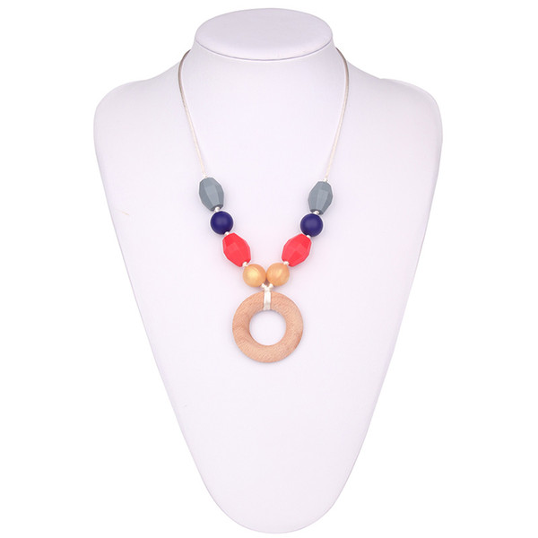 Natural Wood Pendant Nursing Necklace Silicone Teething Necklace Baby Wooden Donut Pendant Necklace Chewable Jewelry Baby Gifts Wholesale