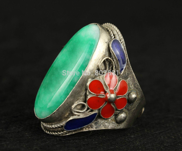 Tibetan Jewelry Rare Handmade Exquisite Decoration Natural Green Jade Tibet Silver Ring