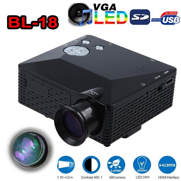 BL-18 Mini LED Projector 500 Lumen HDMI Full HD Portable Pico LCD Home Theater Multimedia AV/VGA/SD/USB/HDMI Beamer Games Proyector Free DHL