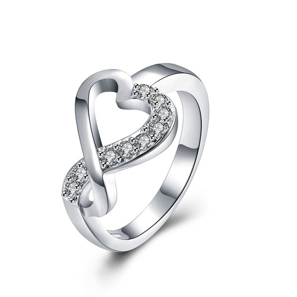 New Fashion 925 Silver Ring Pretty Heart Zircon Wedding Finger Rings For Women Jewelry Free Shipping r832