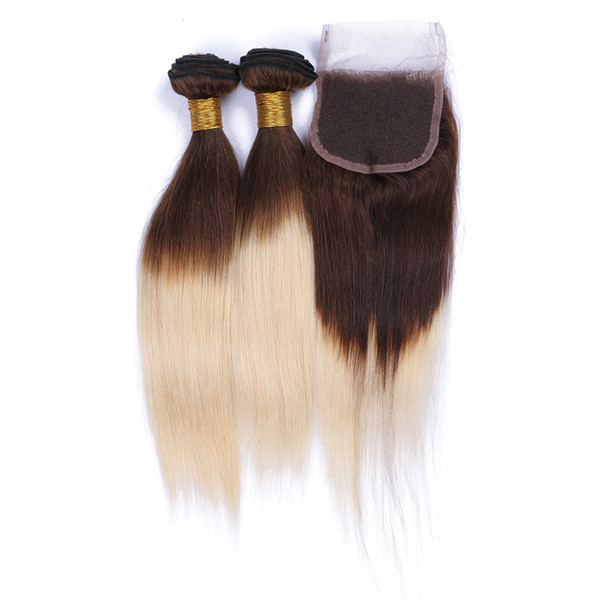 Ombre Brown Blonde Brazilian Hair With Closure Straight Human Hair Two Tone 4Pcs Lot Omber 613 Blonde Hair Extensions With Lace Closure