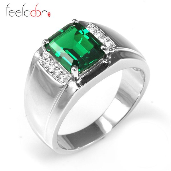 37ct Nano Russian Emerald Engagement Wedding Ring For Men Solid 925