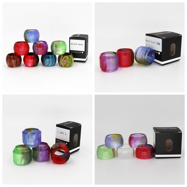 Colorful Resin Replacement tube Caps Big Capacity for Melo3 Mini Tank Wotof Troll RTA I just 2 Dragon Ball Expansion Epoxy Drip Tip tips