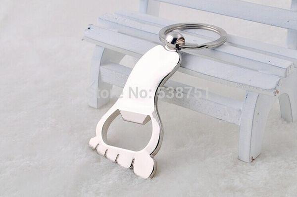 Apri di bottiglia a forma di piede del metallo 100pcs / lot con l'anello portachiavi per le catene chiave apri di bottiglia di promozione SPEDIZIONE GRATUITA