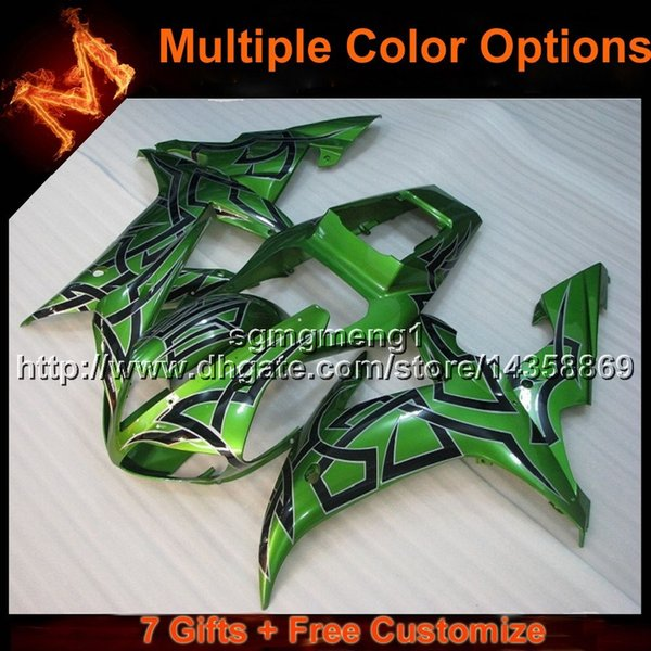 23colors+8Gifts GREEN YZF R1 02 03 motorcycle cowl Fairing For Yamaha YZF1000 2003 YZF-R1 2002 YZFR1 2002 2003 ABS motor panels kit