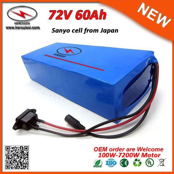 deep cycle 7200w electric bicycle battery 72v lithium battery pack 72v 60ah li ion battery pack with 5a fast charger