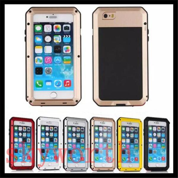 Aluminum Metal Case Gorilla Tempered Glass Screen Shockproof Cover For iphone 4S 5S 6 6S plus Samsung Galaxy S3 S4 S5 S6 Edge