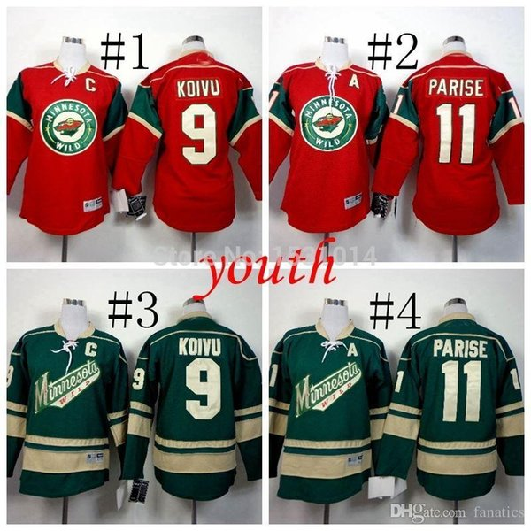 2016 Youth Minnesota Wild Hockey Jerseys #11 Zach Parise #9 Mikko Koivu Jersey Kids Home Red Green Authetic Stitched Jersey C Patch