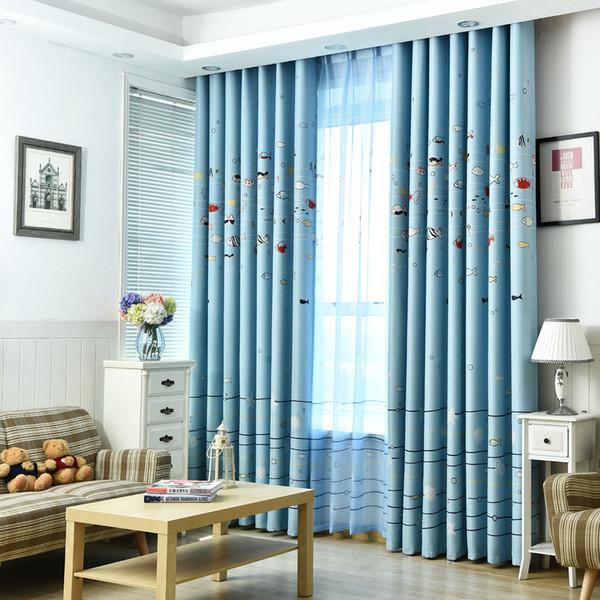 Tende per finestra per bambini Bambino Salotto Camera da letto Sea Fish modello blu lucido tende finestra pannello tenda casa decorazione