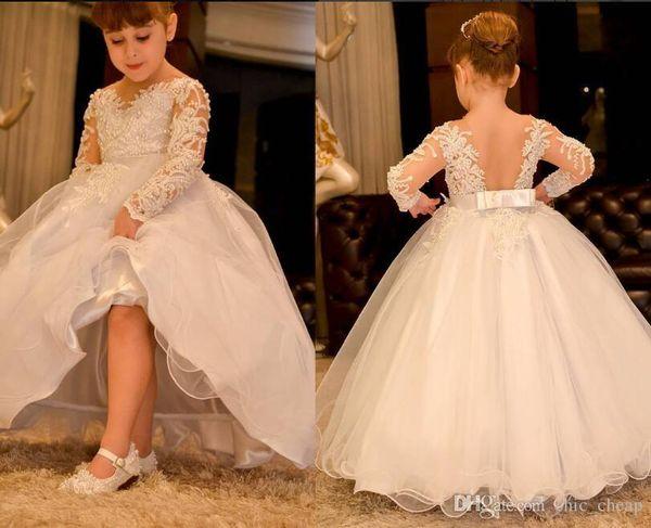 Lange Ärmel Arabisch Blumenmädchenkleider Sheer Neck Lace Perlen Backless Kind Brautkleider Vintage Little Girl Pageant Kleider