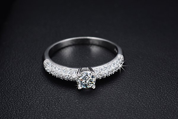 2016 New arrival hot sell Valentines Gift big shiny zircon stone 925 sterling silver female finger wedding rings