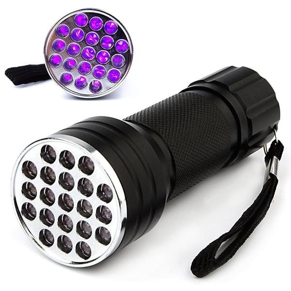 Luce ultravioletta nera 21 Torcia LED UV Lampada torcia Luce Mini alluminio Torcia UV portatile