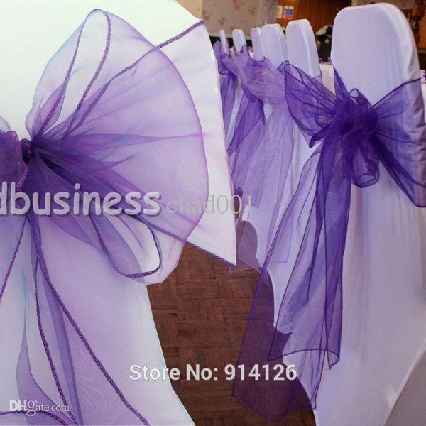 All'ingrosso-Fatory prezzo 100pcs di alta qualità Cadbury viola organza telai della sedia Bow Cover Wedding Banquet Decorazione della sede