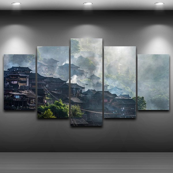 5 Pcs/Set Village Fog Framed wall art picture Artistic Printed Drawing on Canvas Printed Home Decor Spray Oil Painting Decoration