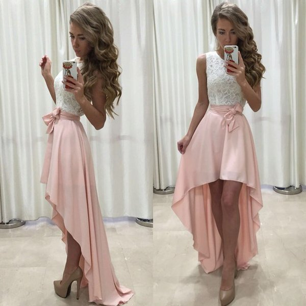 Tea length hi-lo New Designer scoop neckline lace Homecoming Dress good quality Bridesmaid evening dress party dress Prom gown
