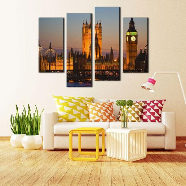 4 Pieces Canvas Painting Wall Art For Home Decoration Big Ben House ...