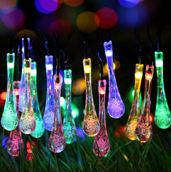 4.8M 20LEDs Powered WATER DROP fairy STRING LIGHTS CRYSTAL AIR BUBBLES Lamp Garden Garland Hanging Lights