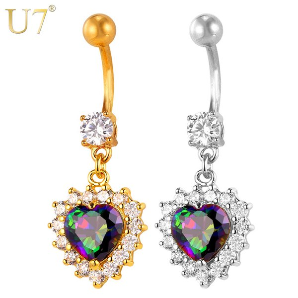unique New Crystal Heart Belly Button Ring For Women Gift Body Jewelry 18K Gold Plated / Platinum Party Cubic Zircon Navel Ring D010