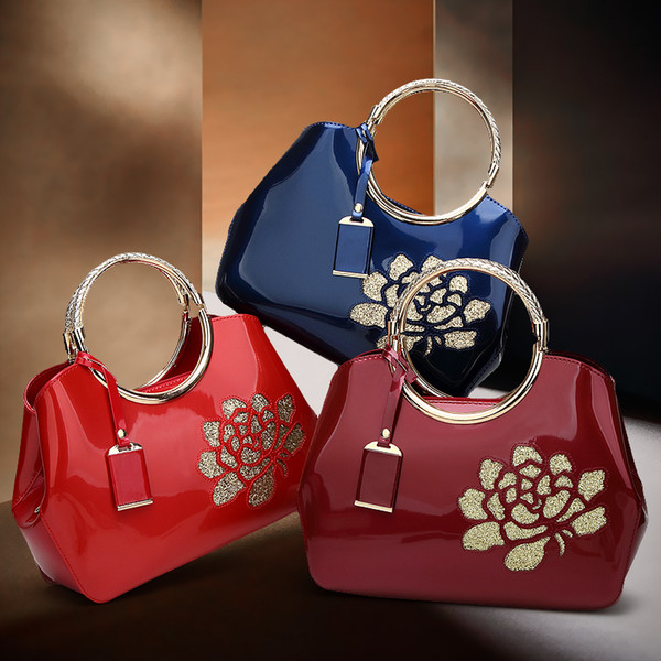 2017 new high quality patent leather women handbags fashion ladies totes elegant evening bags for female