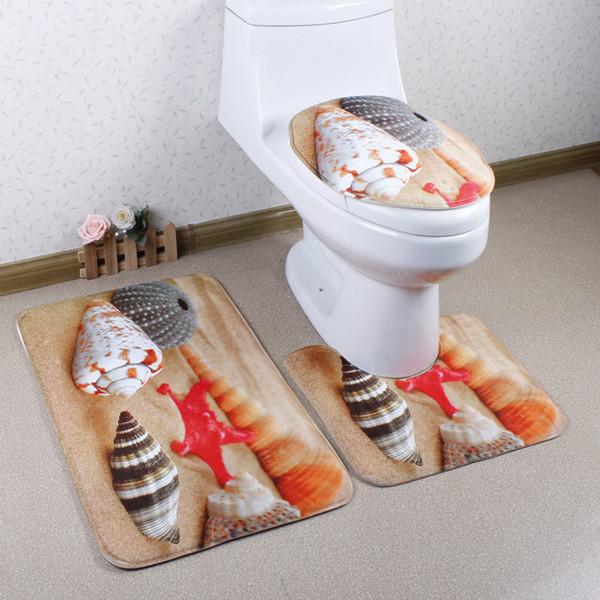 3 unids / set Fashion Shark Blue Hogar Pedestal Alfombra de baño Tapa Tapa de asiento de inodoro conjunto de cubiertas (Lista de precios al por mayor Yee)