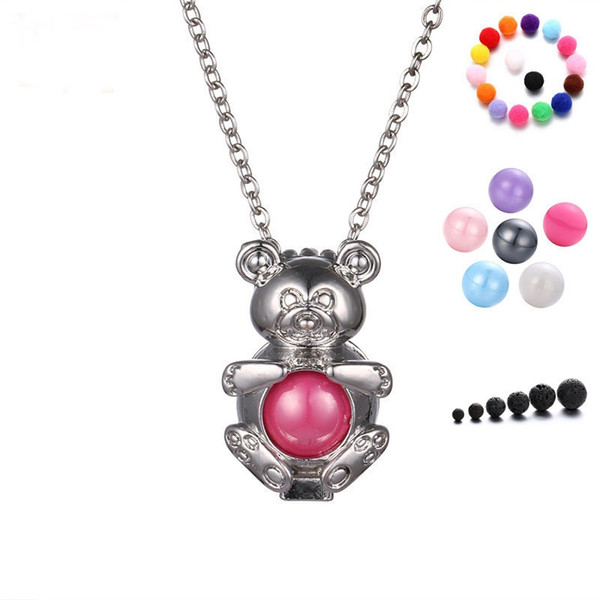 Cute Perfume Bear Shape Lockets Pendants Tredny Teddy Shape Aromatherapy Essential Oil Diffuser Aroma Necklace Christmas Gift