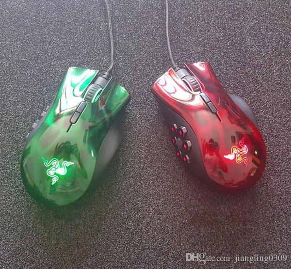 Razer Naga mouse experto para juegos moba Seis estrellas awn star USB con conexión por cable ratón para juegos Versión OEM rojo / verde MOBA / ARPG Ratón luminoso