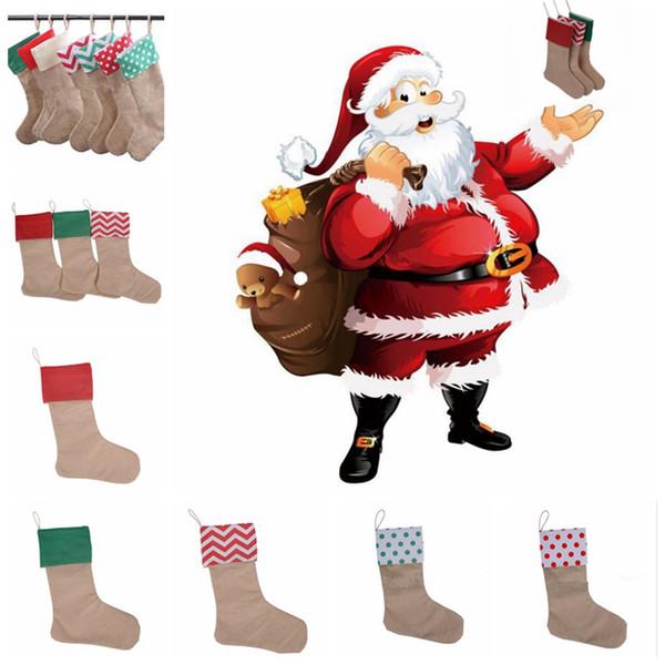 best selling Christmas Canvas Stocking Gift Bag Stocking 30*45cm Christmas Tree Decoration Socks Xmas Stockings 9 Styles OOA2537