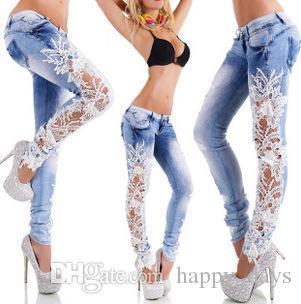 xudaoming / Hollow Out Hook Flower Cerrar Límite Pies Lápiz Lavar Artículos En stock Mujer Bell Bottom Men Jeans para mujeres Vestidos de mujer