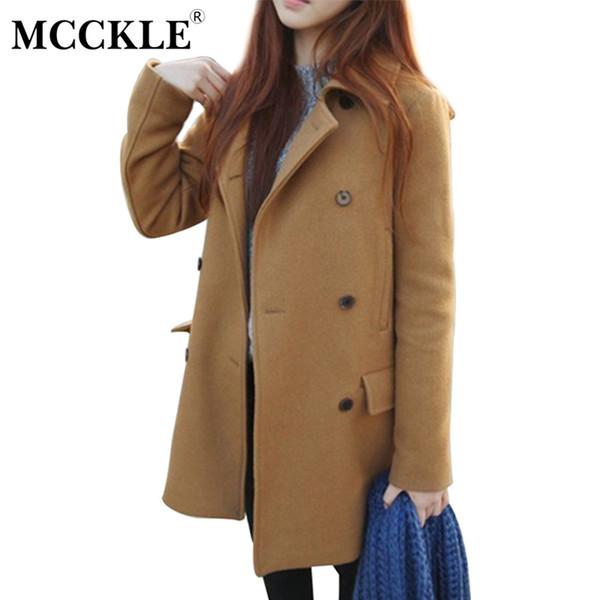 Großhandel MCCKLE Woman Fashion Wollmischung Mäntel Plus Größe Frauen Basic Mantel New Style Damen Warm Thicken Long Coat Jacke Damen Outwear Von