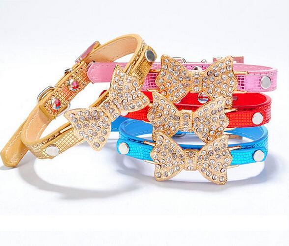 Pretty Bling Strass Haustier Katzen- und Hundehalsband Chihuahua Produkt Liefert Halsbänder für Hunde Leine und Geschirr Sets für Haustiere HJIA299