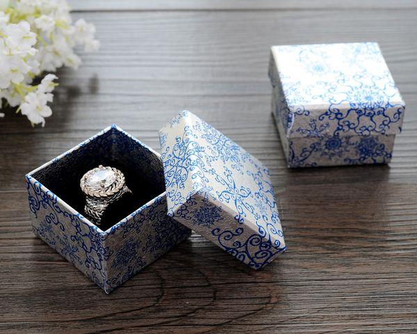 [Semplice Sette] di stile cinese Blue Pattern anello Gift Box, Festival orecchino di modo pacchetto, carta collana imballaggio al minuto (Piccolo)