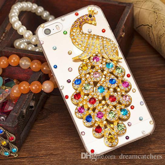For iphone 6 Rhinestone Diamond Peacock Crystal Case Fashion Bling Transparent Cell Phone Protective Cover shell phone for iphone 6 plus 6s