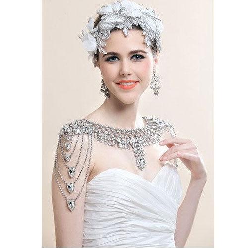 Düğün Gelin Omuz Tam Vücut Zincir Kolye Küpe Set Gümüş Kristal Rhinestone Wrap Geri Zincir Takı Balo Aksesuarları Yaka Hediye