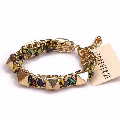 New European Punk Style Vintage Weave Wrap Bracciale in lega placcato oro catena a maglia di cristallo rivetti braccialetto prismatico moda gioielli natale